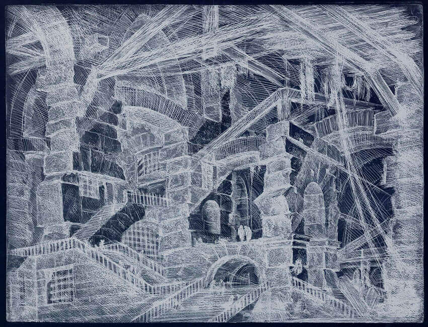 Grabado de Giovanni Batista Piranesi la Exposición Temporal del Museo Carmen Thyssen Málaga 2021