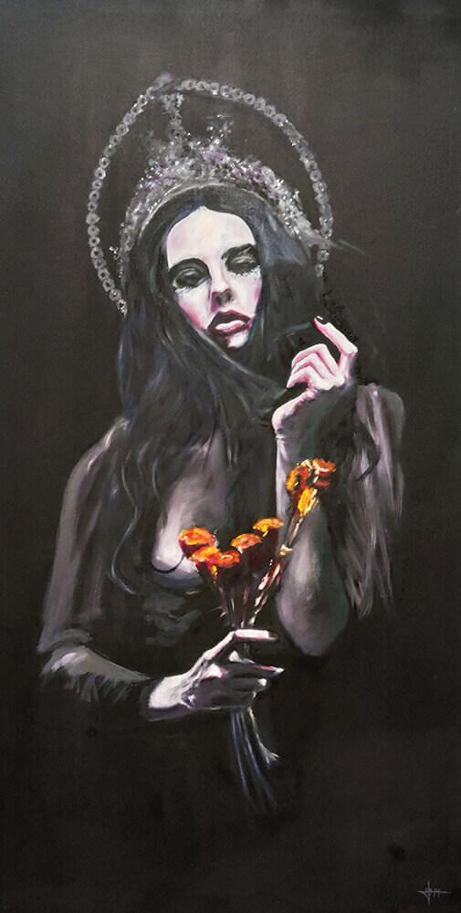 Virgen Dolorosa Pintura del Artista José Moratalla de la Exposición Colectiva DE PECCATIS ET MORTE en Horno GalerÍa de Arte Online