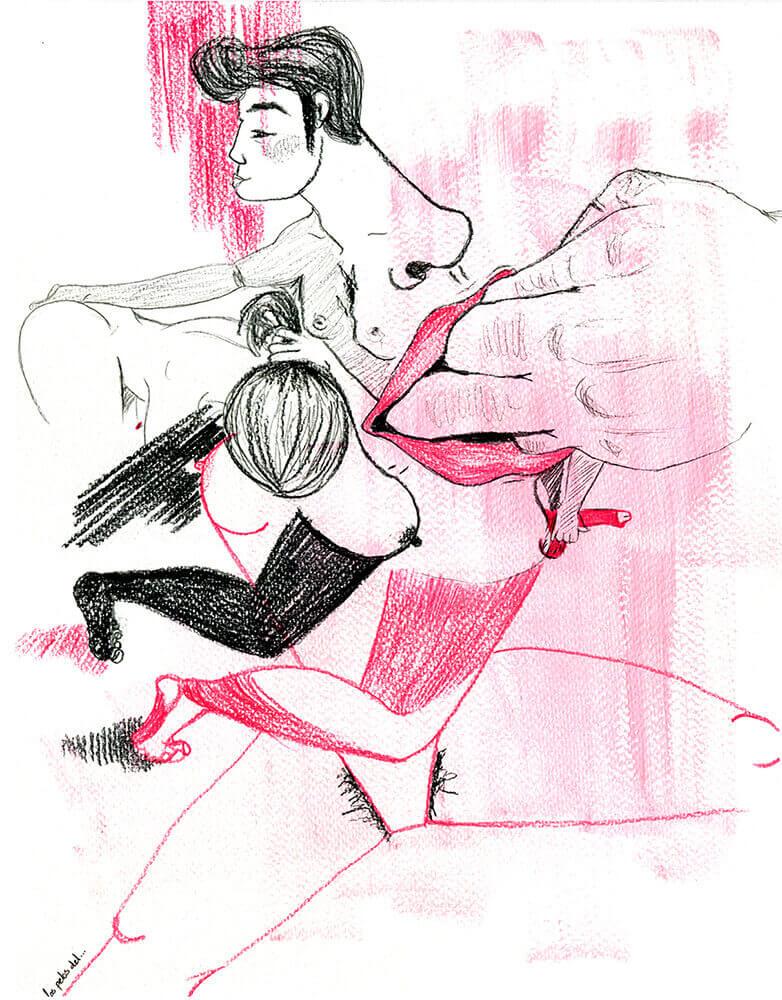 Méteme la mano Ilustracion del Artista Los Pelos del... Exposición Colectiva DE PECCATIS ET MORTE en Horno GalerÍa de Arte Online