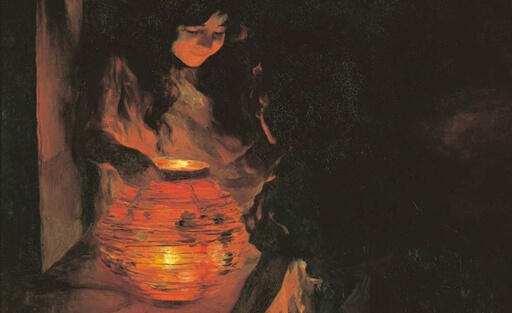Paint with Children in a dark room with a lamp that illuminates their faces from the Exhibition Paint the Light - The Catalan Masters in the Museo Carmen Thyssen Málaga 2021 - Horno Online Art Gallery