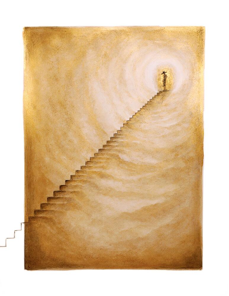 Ilustracion del Artista Sintora Autorretrato en las Puertas de San Pedro Exposición Colectiva DE PECCATIS ET MORTE en Horno GalerÍa de Arte Online
