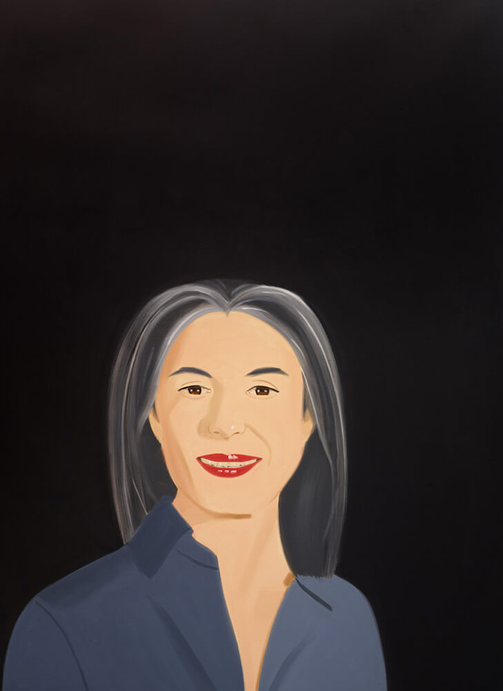 Pintura Mujer con pelo gris sobre un fondo Negro del Artista Katz Exposición La linea del Ingenio Museo Guggenheim Bilbao