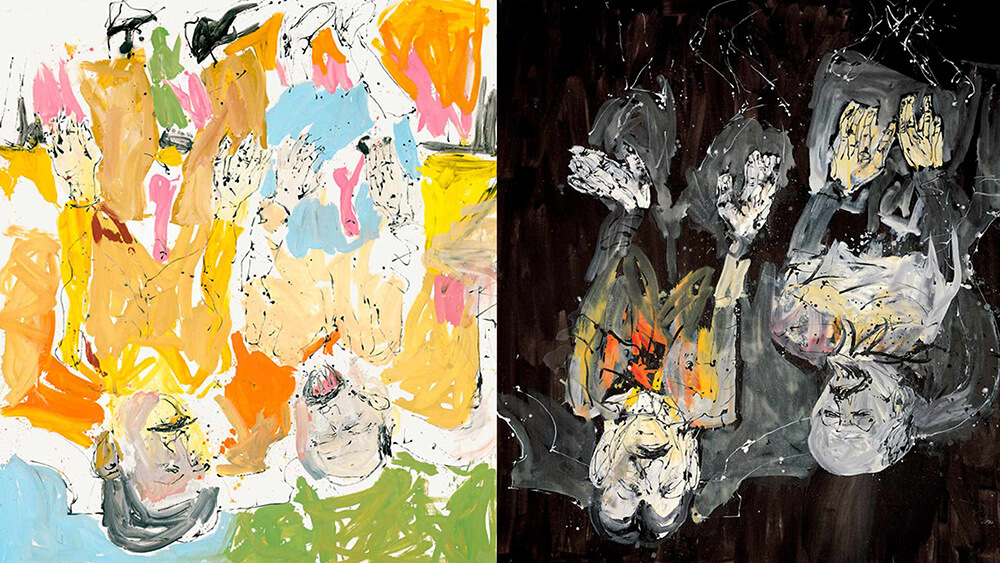 2 paintings together very similar with two men face down painted one in gray colors and the other in intense artist Baselitz at the Guggenheim Museum Bilbao