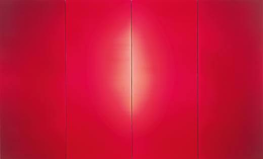 Obra abstracta en color Rojo Intenso Plano dividida en 4 paneles de la Exposicion La linea del Ingenio del Museo Guggenheim Bilbao