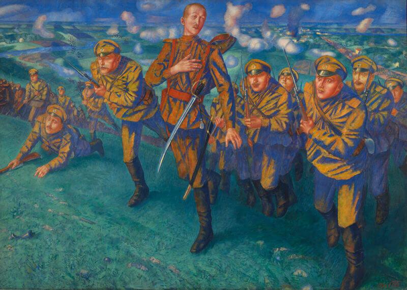Exposicion-guerra-paz-en-arte-ruso-KUZMA PETROV-VODKIN.-EN-LA-LÍNEA-FUEGO-Museo-Ruso-Malaga-Horno-galeria-arte-online-800x570-